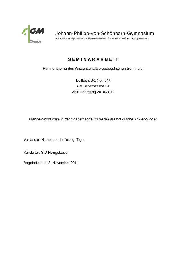 Johann-Philipp-von-Schönborn-Gymnasium Sprachliches Gymnasium – Humanistisches Gymnasium – Ganztagsgymnasium S E M I N A R...