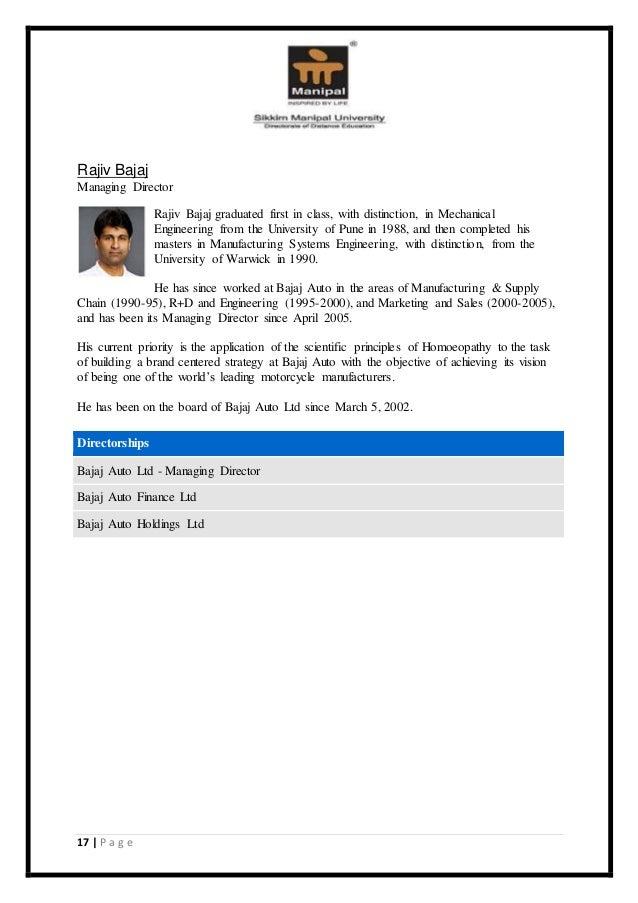 mba marketing major project on bajaj auto ltd View sandeep kumar singh's profile on linkedin international marketing (africa & uae) bajaj auto ltd mba, marketing mba, marketing 1989 – 1991.