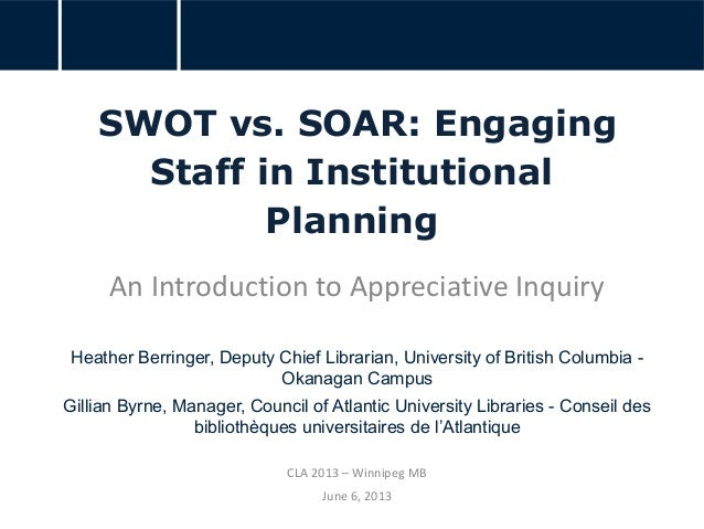 SWOT vs. SOAR: Engaging Staff in Institutional Planning An Introduction to Appreciative Inquiry Heather Berringer, Deputy ...