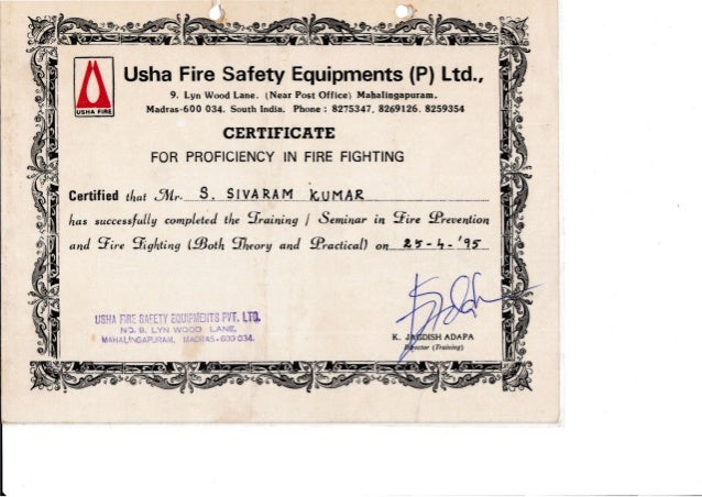Usha Fire Safety Equipments (P) Ltd., 9, Lyn Wood Lane, lNear Post Office) Mahalingapuram, Madras-600 034. South India. Ph...