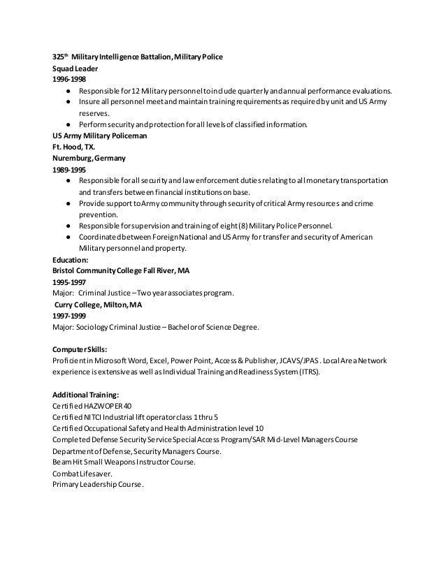 resume examples for military industry change military transition