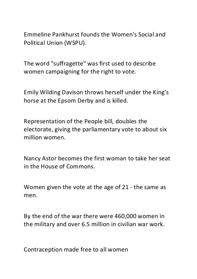 """Emmeline Pankhurst founds the Women's Social and Political Union (WSPU). The word """"suffragette"""" was first used to describe..."""