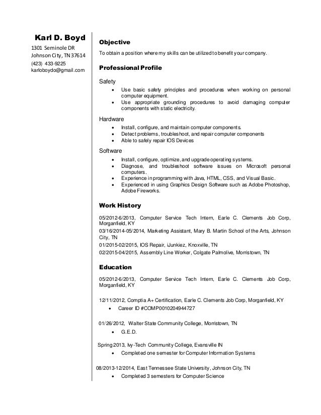 karl boyd resume - Resume Computer Science 2015