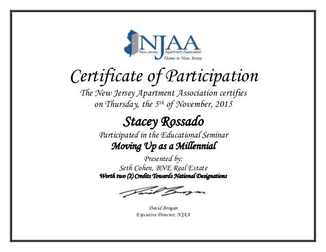 Certificate of participation stacey rossado for Certificate of participation template ppt