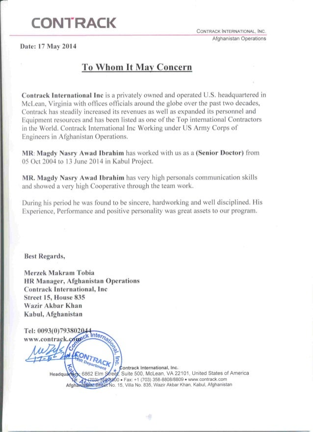 Experience Certificate Of Total Period Of Contrack