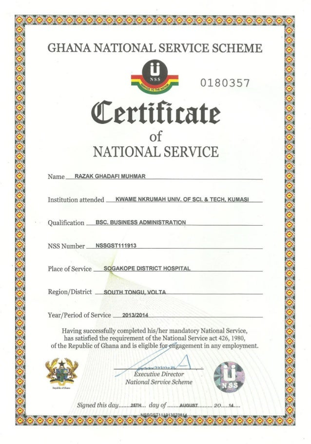 national service certificate