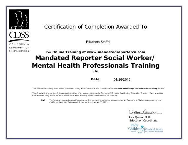 California Mandated Reported Mental Health Certificate