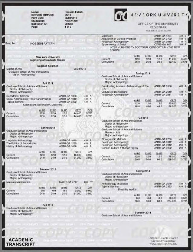 Send To: Name: Birthdat e (MM/DD ): Print Date: Stud ent ID: Institution ID : Page: HOSSEIN FATTAHI Hossein Fattahi 09/ 19...