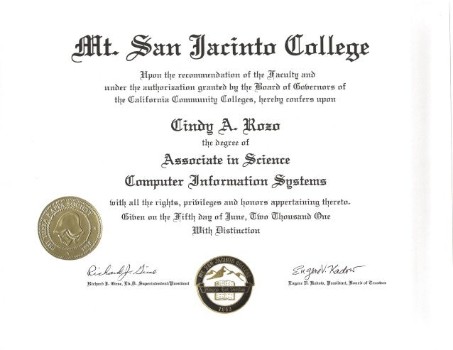 Cindy Rozo - Associate Degrees