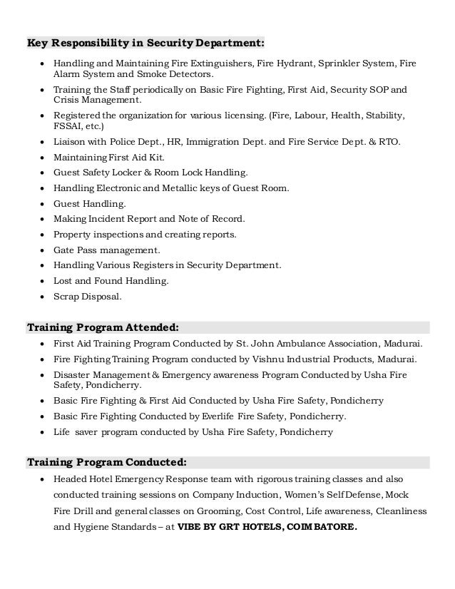 Fire Safety Engineer Resume