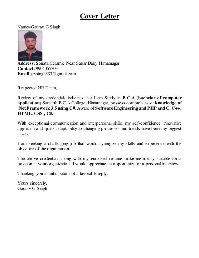 Cover Letter Nameu003dGaurav G Singh Address: Sonata Ceramic Near Sabar Dairy  Himatnagar Contact ...