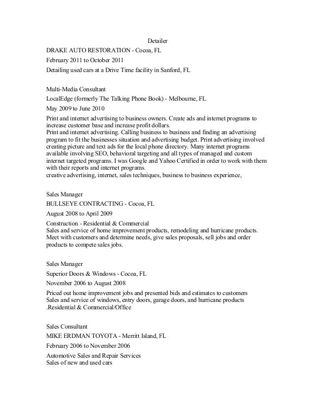 sample resume using bullets reentrycorps - Automotive Detailer Jobs