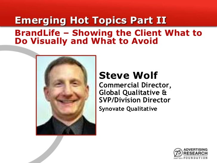 Emerging Hot Topics Part IIBrandLife – Showing the Client What toDo Visually and What to Avoid                 Steve Wolf ...