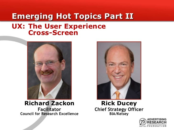 Emerging Hot Topics Part IIUX: The User Experience    Cross-Screen    Richard Zackon                    Rick Ducey        ...