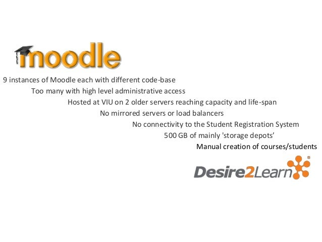 9 instances of Moodle each with different code-base         Too many with high level administrative access                ...