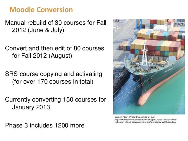 Moodle ConversionManual rebuild of 30 courses for Fall  2012 (June & July)Convert and then edit of 80 courses  for Fall 20...