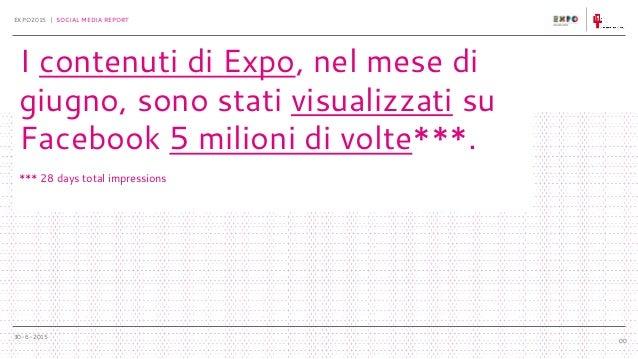 30-6-2015 EXPO2015 | SOCIAL MEDIA REPORT 00 I contenuti di Expo, nel mese di giugno, sono stati visualizzati su Facebook 5...