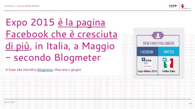 30-6-2015 EXPO2015 | SOCIAL MEDIA REPORT 00 Expo 2015 è la pagina Facebook che è cresciuta di più, in Italia, a Maggio - s...