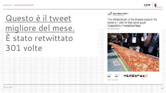 30-6-2015 EXPO2015 | SOCIAL MEDIA REPORT 00 Questo è il tweet migliore del mese. È stato retwittato 301 volte