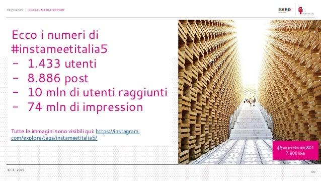 30-6-2015 EXPO2015 | SOCIAL MEDIA REPORT 00 Ecco i numeri di #instameetitalia5 - 1.433 utenti - 8.886 post - 10 mln di ute...