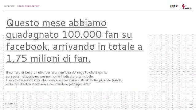 30-6-2015 EXPO2015 | SOCIAL MEDIA REPORT 00 Questo mese abbiamo guadagnato 100.000 fan su facebook, arrivando in totale a ...