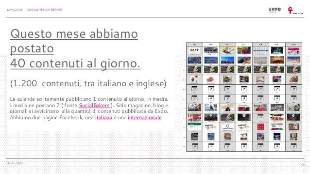 30-6-2015 EXPO2015 | SOCIAL MEDIA REPORT 00 Questo mese abbiamo postato 40 contenuti al giorno. (1.200 contenuti, tra ital...
