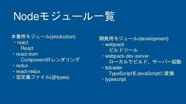 Nodeモジュール一覧 開発用モジュール(development) ・webpack ビルドツール ・webpack-dev-server ローカルでビルド、サーバー起動 ・tsloader TypeScriptをJavaScriptに変換 ・...