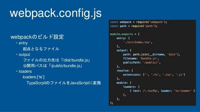 webpack.config.js webpackのビルド設定 ・entry 起点となるファイル ・output ファイルの出力先は「/dist/bundle.js」 公開用パスは「/public/bundle.js」 ・loaders loa...