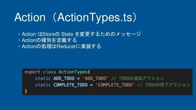 Action(ActionTypes.ts) ・Action はStoreの State を変更するためのメッセージ ・Actionの種別を定義する ・Actionの処理はReducerに実装する