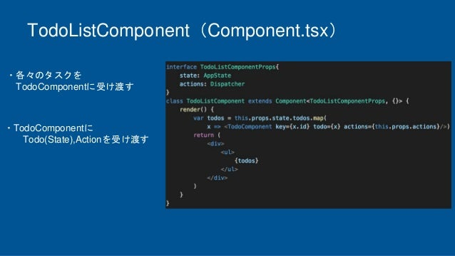 TodoListComponent(Component.tsx) ・各々のタスクを TodoComponentに受け渡す ・TodoComponentに Todo(State),Actionを受け渡す