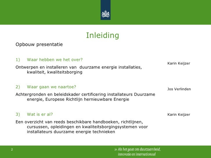 Kwaliteitsborging Duurzame Energie installateurs Slide 2