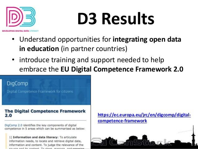 D3 Results • Understand opportunities for integrating open data in education (in partner countries) • introduce training a...