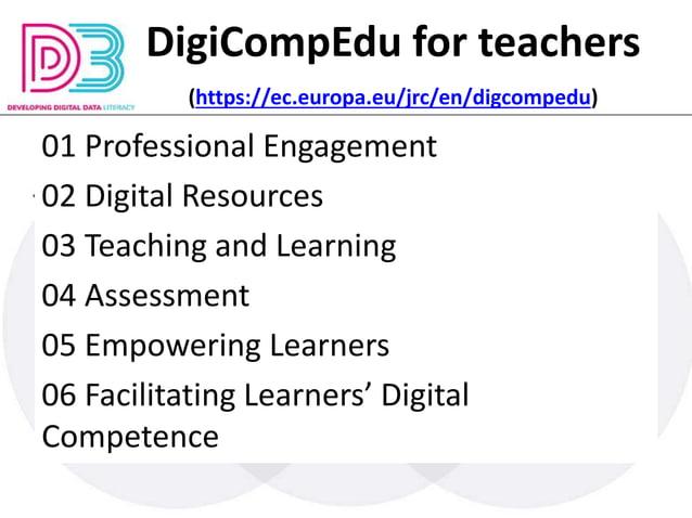 DigiCompEdu for teachers (https://ec.europa.eu/jrc/en/digcompedu) 01 Professional Engagement 02 Digital Resources 03 Teach...