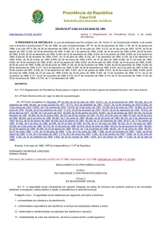 20/07/2015 D3048compilado http://www.planalto.gov.br/ccivil_03/decreto/d3048compilado.htm 1/161 PresidênciadaRepública C...