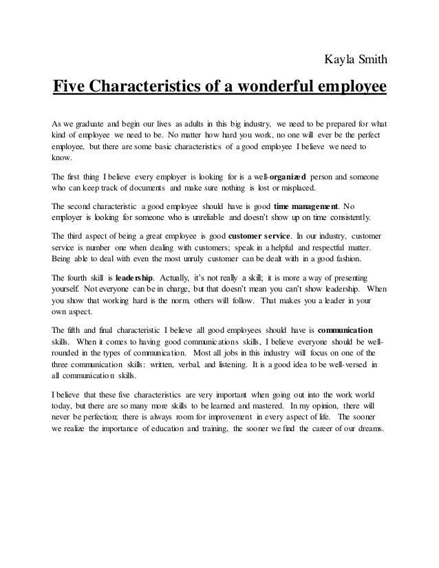 good characteristics of a employee