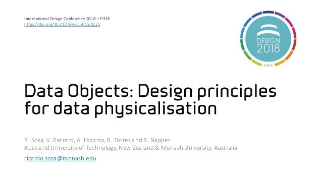 Data Objects: Design principles for data physicalisation R. Sosa, V. Gerrard, A. Esparza, R. Torres and R. Napper Auckland...