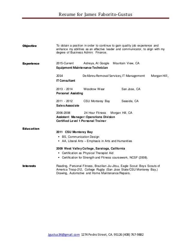 Cover Letter and Resume (JamesFaborito)
