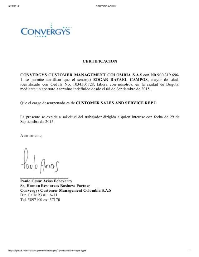 carta de trabajo convergys