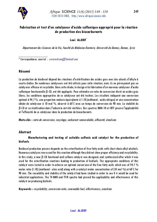 Afrique SCIENCE 11(6) (2015) 349 - 358 349 ISSN 1813-548X, http://www.afriquescience.info Loai ALJERF Fabrication et test ...