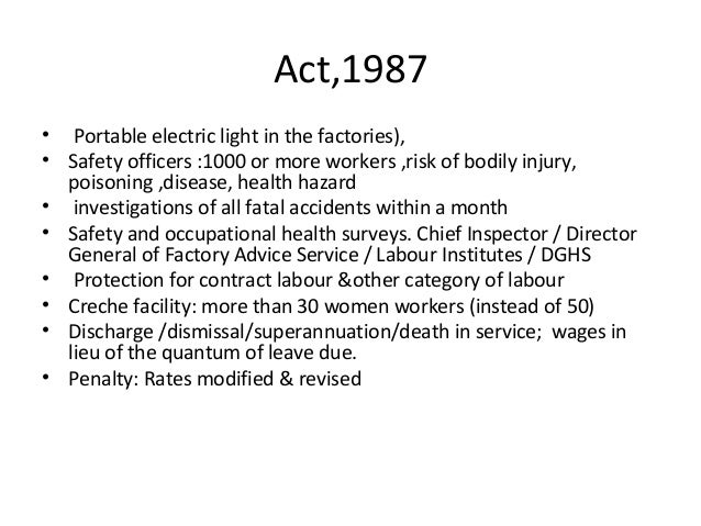 Factories Act, 1948 | Notes