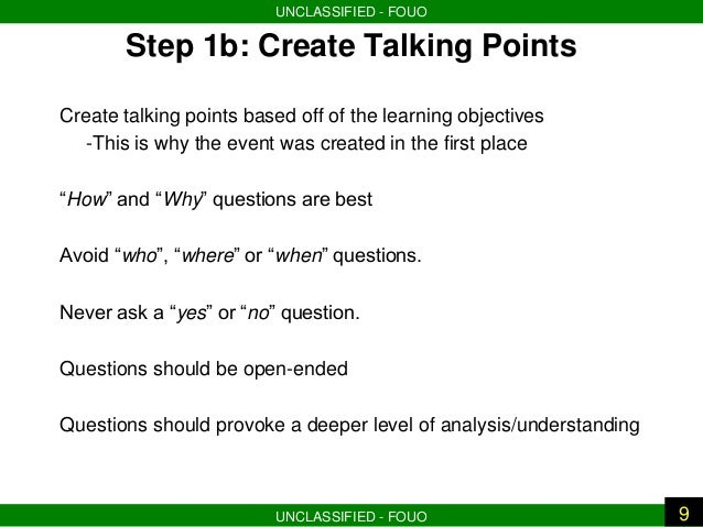 The facilitated aar final version for Talking points template word