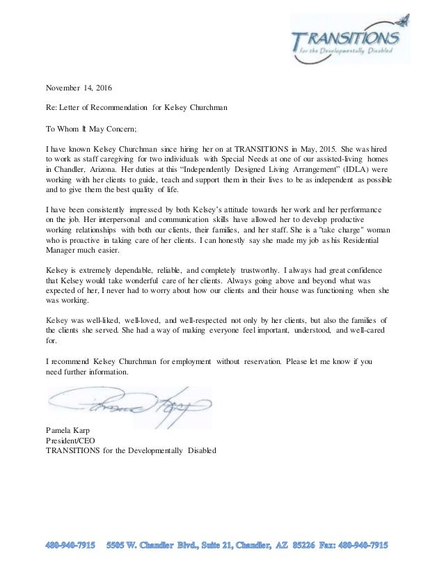 Kelsey Churchman Letter Of Recommendation 11 14 16 By