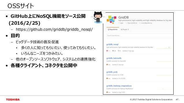 47© 2017 Toshiba Digital Solutions Corporation OSSサイト • GitHub上にNoSQL機能をソース公開 (2016/2/25) – https://github.com/griddb/grid...