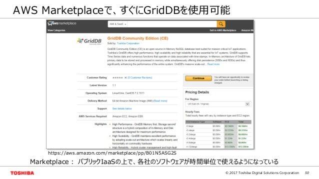 50© 2017 Toshiba Digital Solutions Corporation AWS Marketplaceで、すぐにGridDBを使用可能 Marketplace: パブリックIaaSの上で、各社のソフトウェアが時間単位で使え...