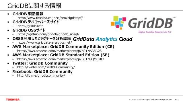 52© 2017 Toshiba Digital Solutions Corporation GridDBに関する情報 • GridDB 製品情報 – http://www.toshiba.co.jp/cl/pro/bigdatapf/ • G...