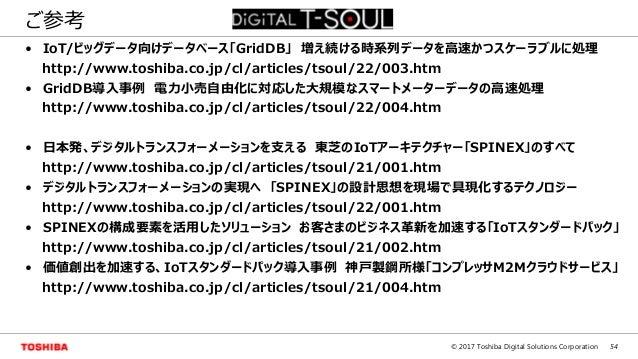 54© 2017 Toshiba Digital Solutions Corporation ご参考 • IoT/ビッグデータ向けデータベース「GridDB」 増え続ける時系列データを高速かつスケーラブルに処理 http://www.toshi...
