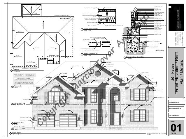 Roof Floor Elevation : Jg house sheet front elevation roof plan details