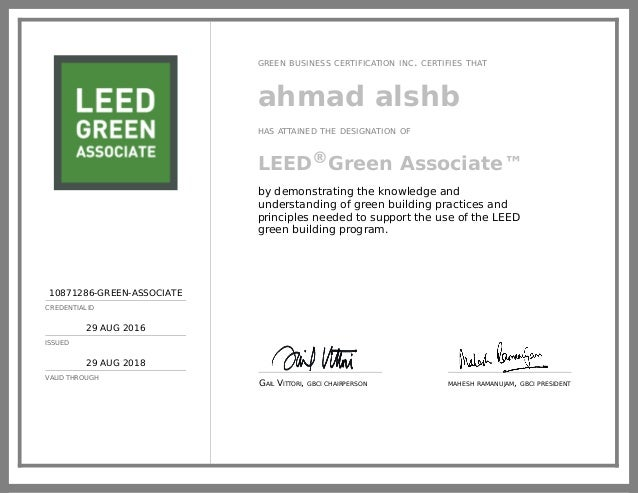 10871286-GREEN-ASSOCIATE CREDENTIAL ID 29 AUG 2016 ISSUED 29 AUG 2018 VALID THROUGH GREEN BUSINESS CERTIFICATION INC. CERT...