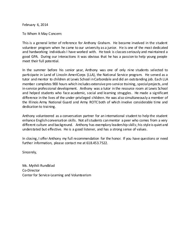 General letter of recommendation for student yolarnetonic americorps letter of reference general expocarfo Choice Image