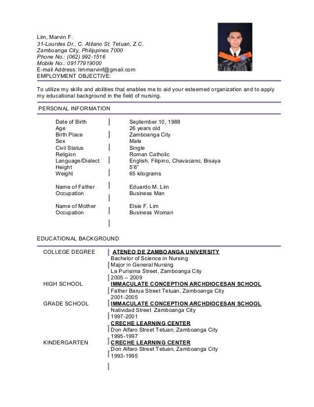resume  hospital marvin